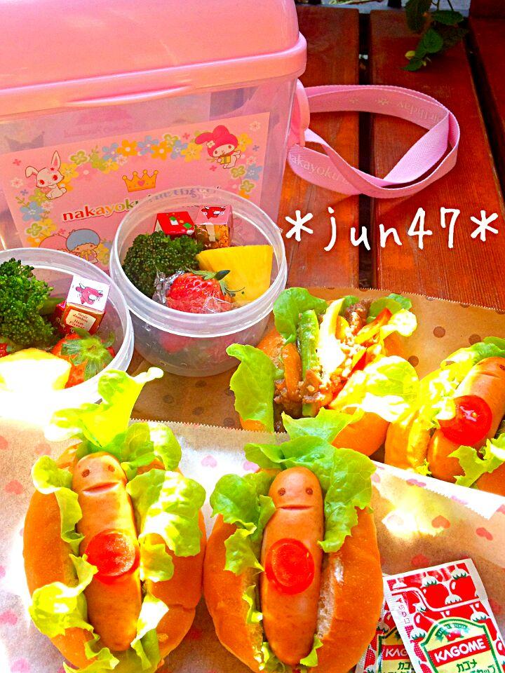 上級者は耳もつけてねこ風に♩「ホットドッグ」の簡単キャラ弁レシピ!の画像