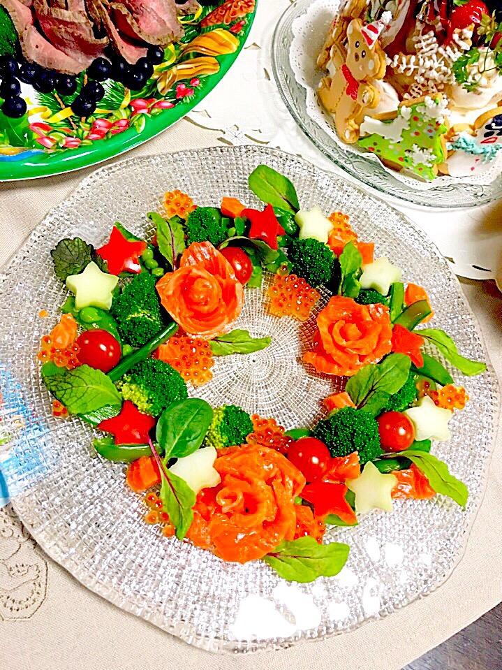 クリスマスにぴったり♪「リースサラダ」が簡単なのに主役級の華やかさ!の画像