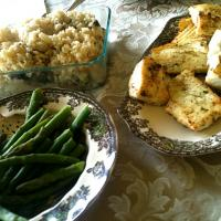 Baked halibut, green beans and wild mushroom risotto