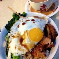 Honey glaze char siew with egg and rice