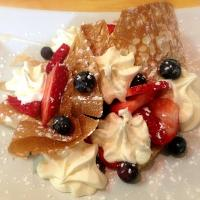 Crepe with berries and mascarpone cheese♡
