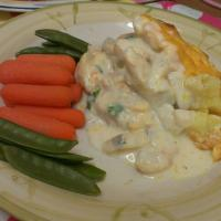 fish bake with steamed veg