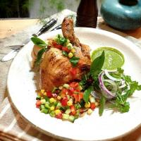 Grilled chicken,sweet corn and pepper salsa,coriander dressing