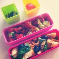 Pasta bento with salad and a plum