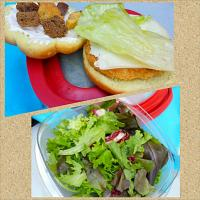 Chicken patty sandwich croutons, mayo, cheese, lettuce. Spring leaf salad.