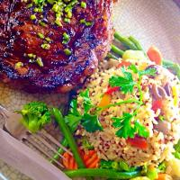 Mediterranean Grill ribeye with brown rice pilaf