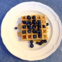 Waffle and blueberries