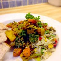 Vegetable Coconut Masala with rainbow rice!
