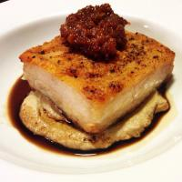 Pork belly with liver mousse & bourbon maple bacon jam