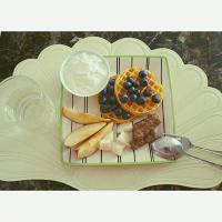Breakfast Plate: waffles,  blueberries,  sausages, yogurt, apples, and pear~