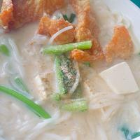 🐟Fried Fish Soup with condensed milk + thick noodles🐟