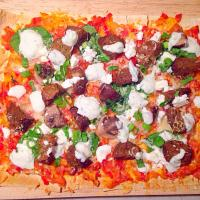 Lamb Mushroom + Feta Mountain Bread Pizza