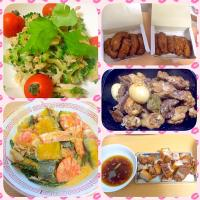 Goya salad,shrimp in coconut milk,tebasaki,adobo Nd lechon kawali