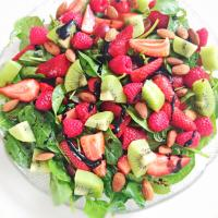 Baby spinach & strawberry, raspberry, kiwi salad
