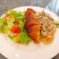 Tuna Croissant served with mushroom and salad