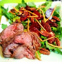 Beef roast + wild arugula salad with organic beets, roasted pecans, carrots, and tangerine no-oil vinaigrette