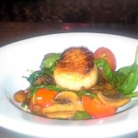pan seared Sea Scallop on bed of warm Baby Spinach & Button Mushroom Salad