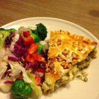 Chicken & mushroom pie with green salad
