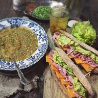 Ham and cheddar sandwich with homemade piccalilli,split pea soup