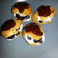 homemade chocolate profiteroles with berry filling :)- divine!!