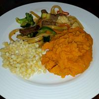 Stir fry, corn, and sweet potatoes. #Lunch