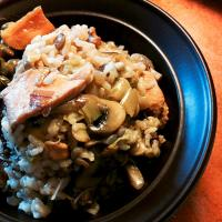 Chicken, mushroom and lentil rice
