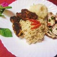 Cold noodles with egg roll, potatoes and chicken