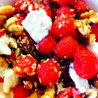 Raspberry, feta cheese, omega-3 seeds and walnuts