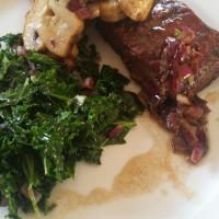 bbq butler steak saute kale onion relish.