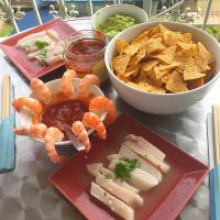 Ceviche, shrimp cocktail, homemade guacamole