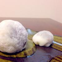 Strawberry daifuku and regular daifuku