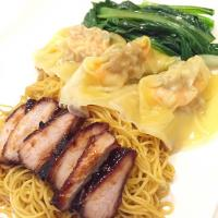Wonton Mee with Charsiew - Egg noodles with pork dumplings and honey roasted pork