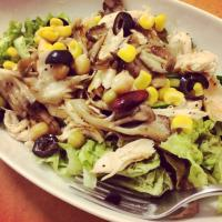 いろいろサラダ / Green Salad with Grilled chicken and mushrooms, corn, some kinds of beans and Black Olive