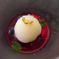 Pineapple sorbet with blueberry sauce @ Ćest la vie