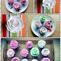 egg less cupcakes with flower inspired, wipped cream frosting