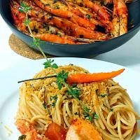 Grilled Shrimps with Blood Mary Linguine