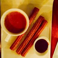 Churros with dulce de Leche and Mexican hot chocolate
