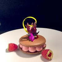 big macaron filled with mousse hibiscus flower ,and  raspberries