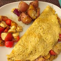 Caprese Omelette with baked potatoes