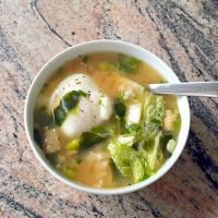 Cabbage Miso Soup with Poached Egg