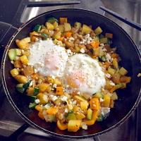 Potato Zucchini Hash with Eggs and Feta