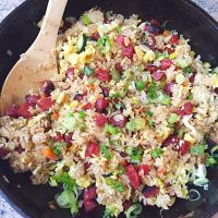 Chinese Sausage Vegetable Egg Fried Rice