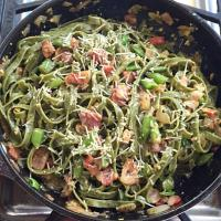 Pesto Spinach Sausage Bacon Carbonara