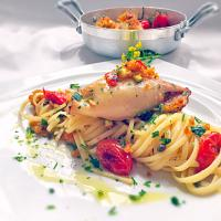 Linguine with Stuffed Calamari and Baked Tomatoes