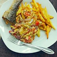 Chips, eggs and fried fish