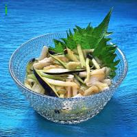 茄子トロロん 【Eggplant salad thickened by Chinese yam and seaweed】