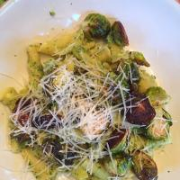 pasta with pumpkin seed pesto and fried brussels sprouts