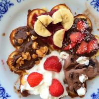 Homemade waffles with several toppings 🍓🍦🍫