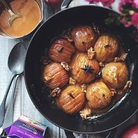 Hasselback apple with toffee sauce