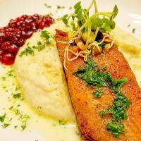 Fried Smoked Salmon w/ Dill Mashed Potatoes, Parsley Butter, & Lingonberry Preserves